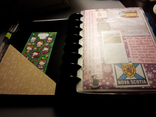 4. hello kitty stickers and purple page