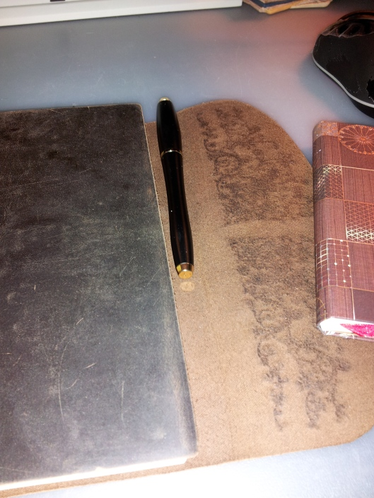 pen attached to italian journal