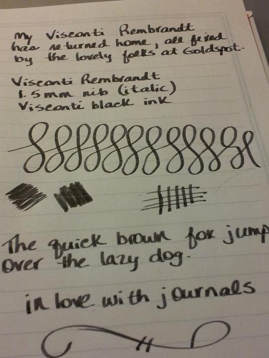 black writing sample