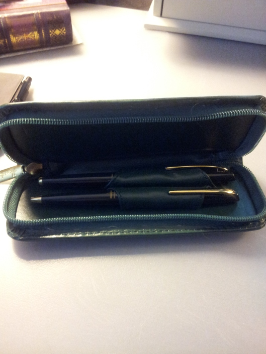 inside pen case pens tucked