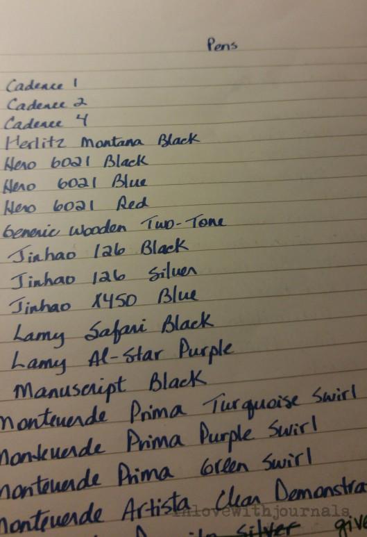 pen list
